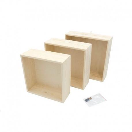 Zestaw trzech kwadratowych półek