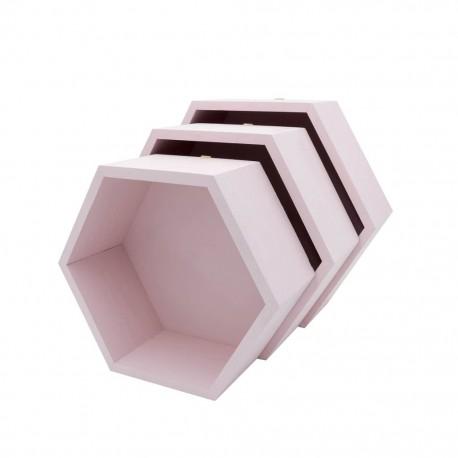 Pólki hexagon 3w1 PUDROWY RÓŻ z pleckami