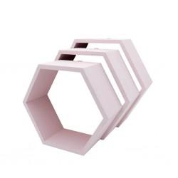Pólki hexagon 3w1 PUDROWY RÓŻ bez plecków